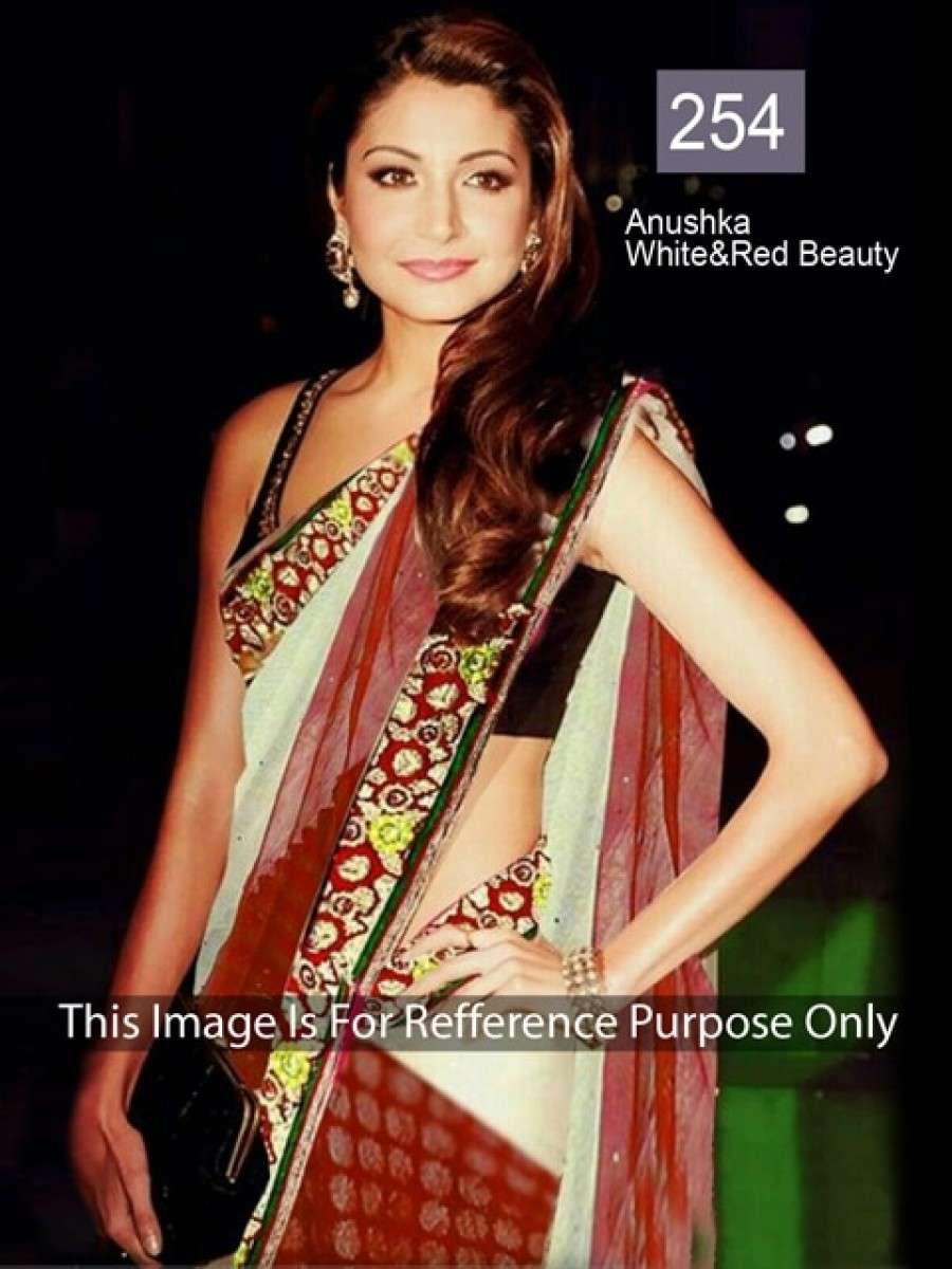 Buy Anushka Red and White Color Net Saree Online