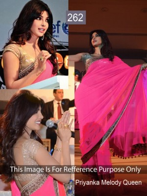 Buy Priyanka Chopra Hot Pink Color Designer Saree Online