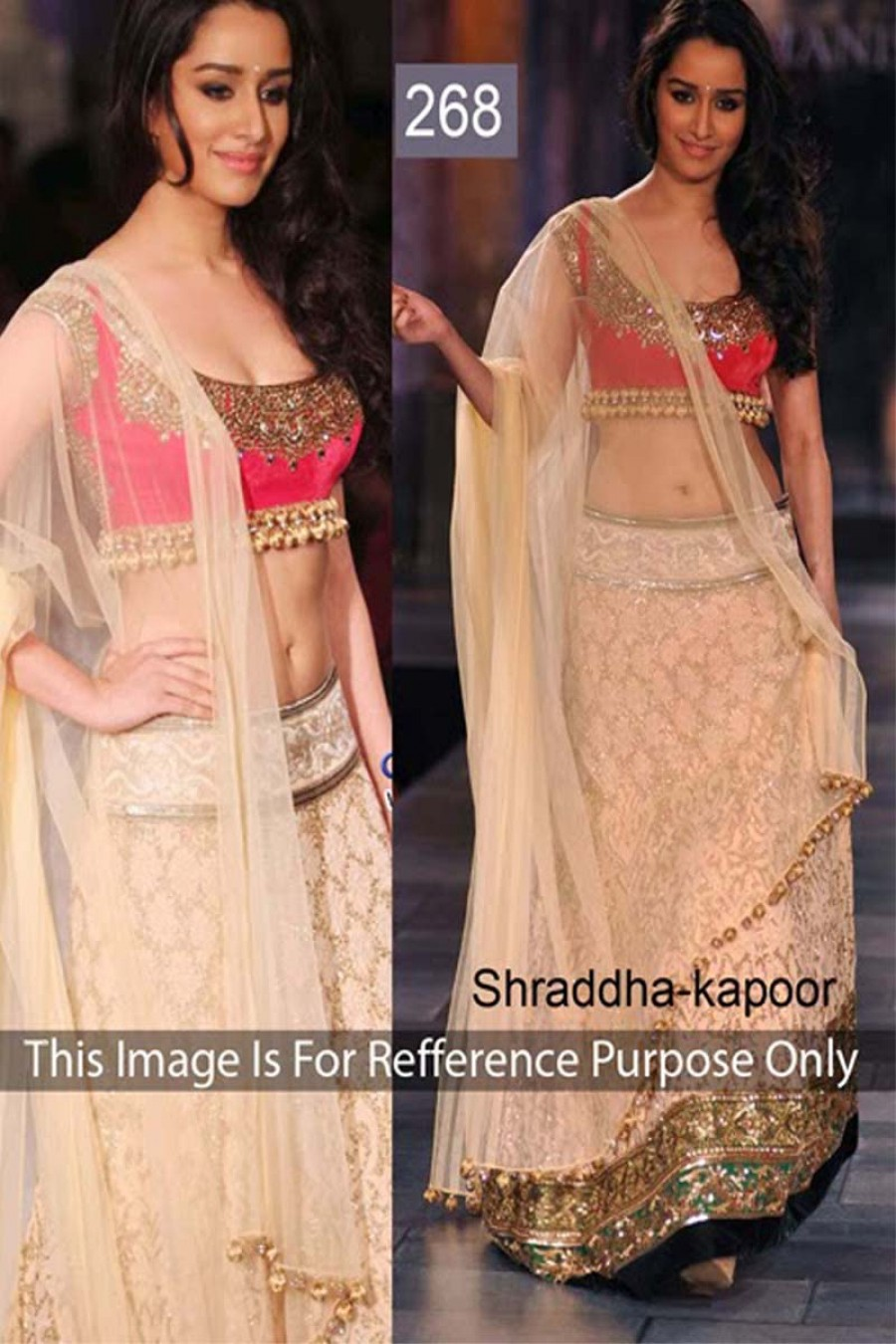 Buy Shraddha Kapoor Beige and Pink Color Lehenga Choli Online