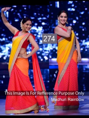 Buy Madhuri Dixit Yellow and Red Color Saree Online