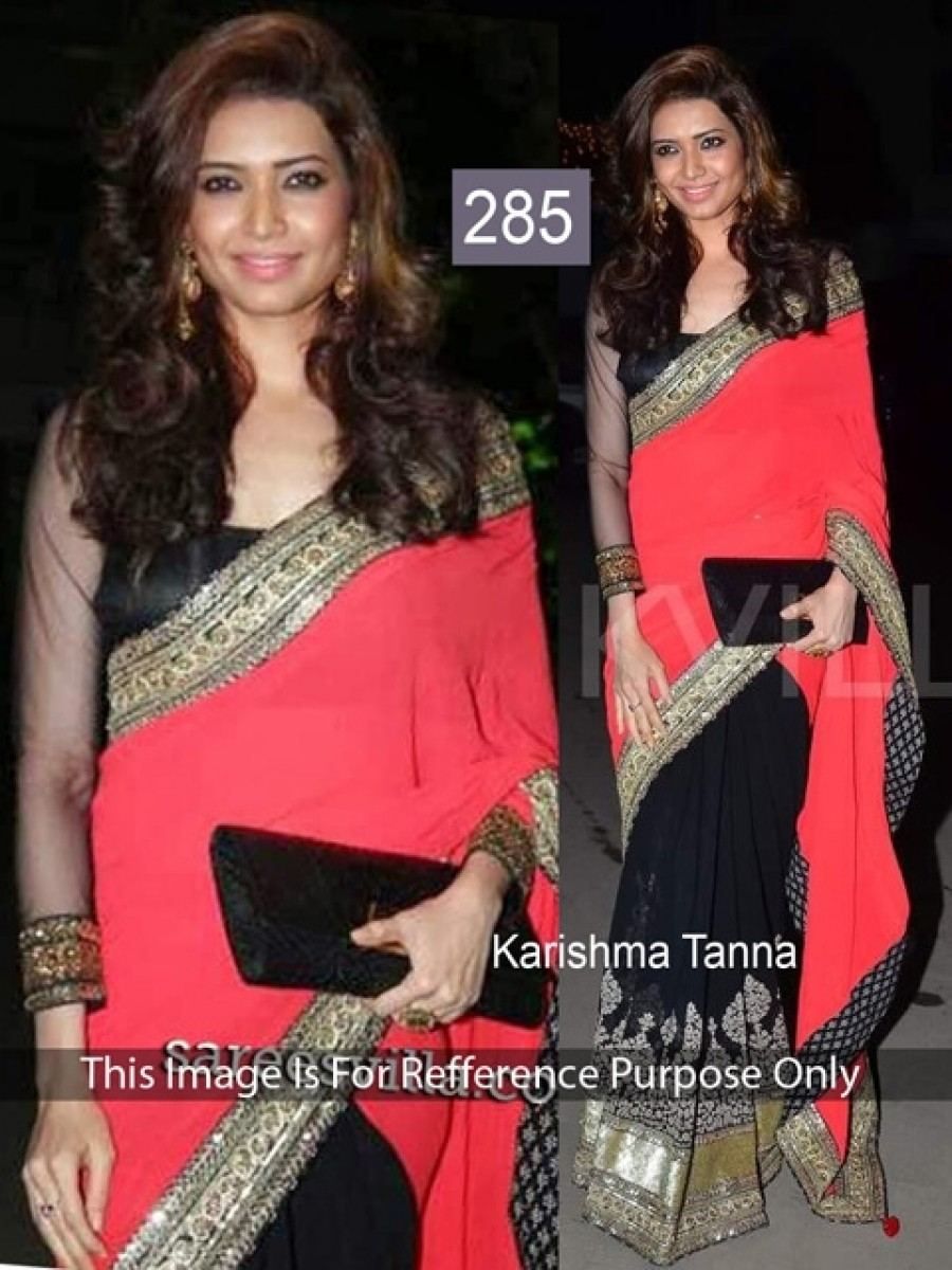 Buy Karishma Tanna Red and Black Georgette Saree Online