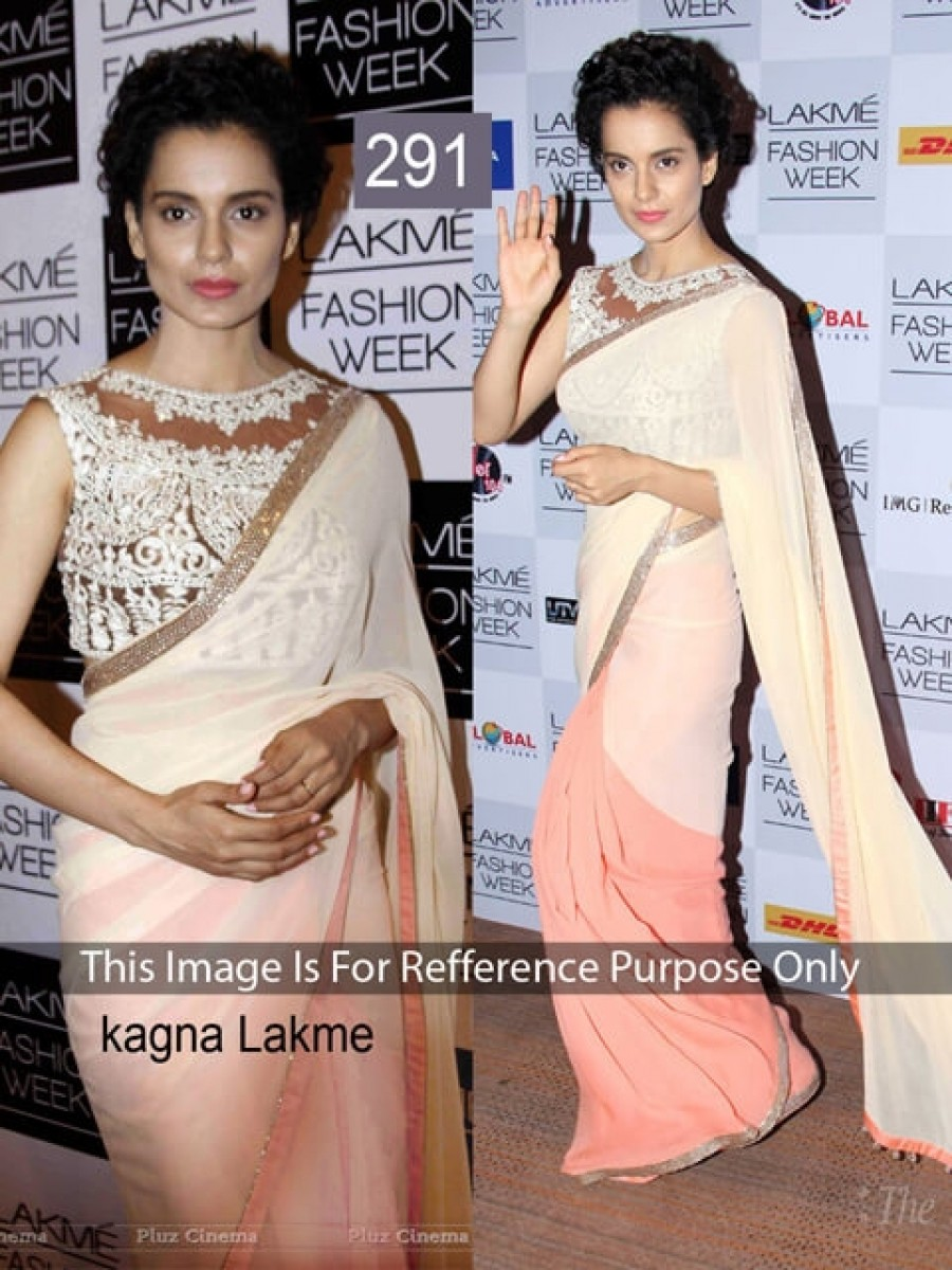 Buy Kangana Off White and Peach Color Shaded Saree Online