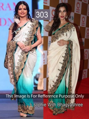 Buy Sophie Chodhry White and Sky Blue Color Saree Online
