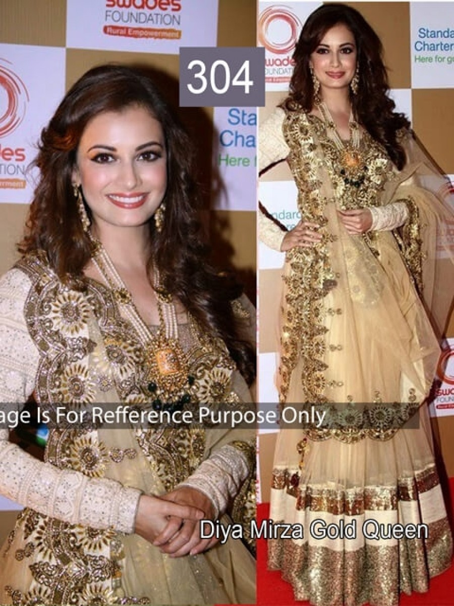 Buy Diya Mirza Golden Color Lehenga Choli Online