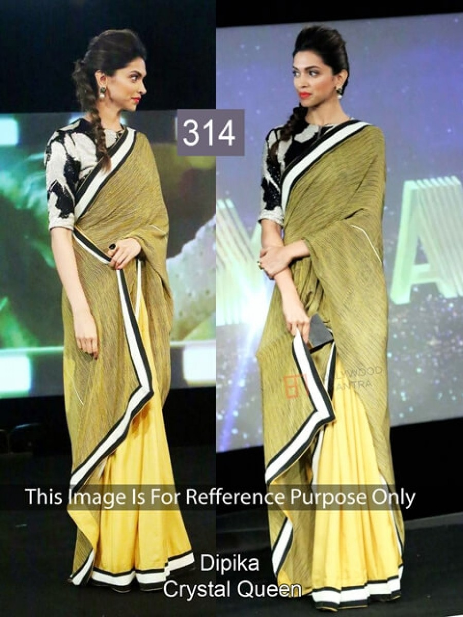 Buy Dipika Padukone Yellow Color Saree Online