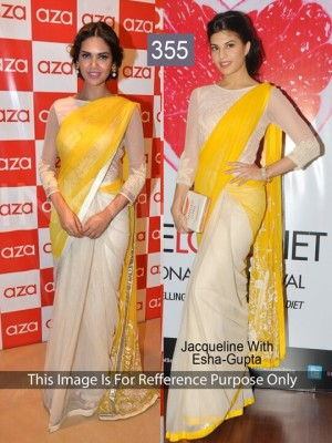 Buy Jacquline Yellow and Off White Color Saree Online