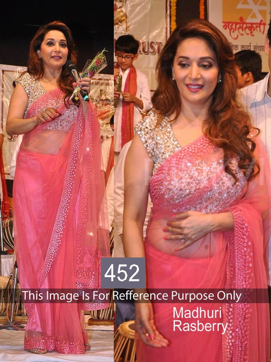 0a504f14305e Buy Madhuri Dixit Pink Color Net Saree Online