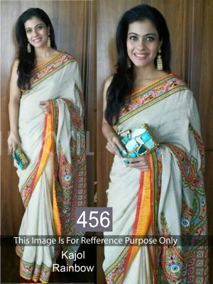 Buy Kajol Off White Plain Designer Saree Online