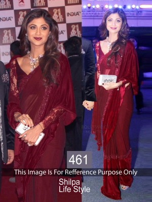 Buy Shilpa Shetty Maroon Color Designer Saree Online