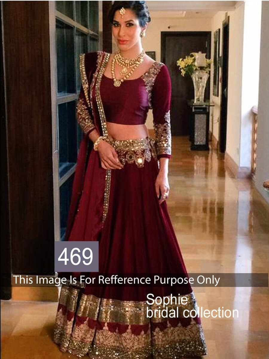 Buy Sophie Bridal Wine Red Color lehenga Online