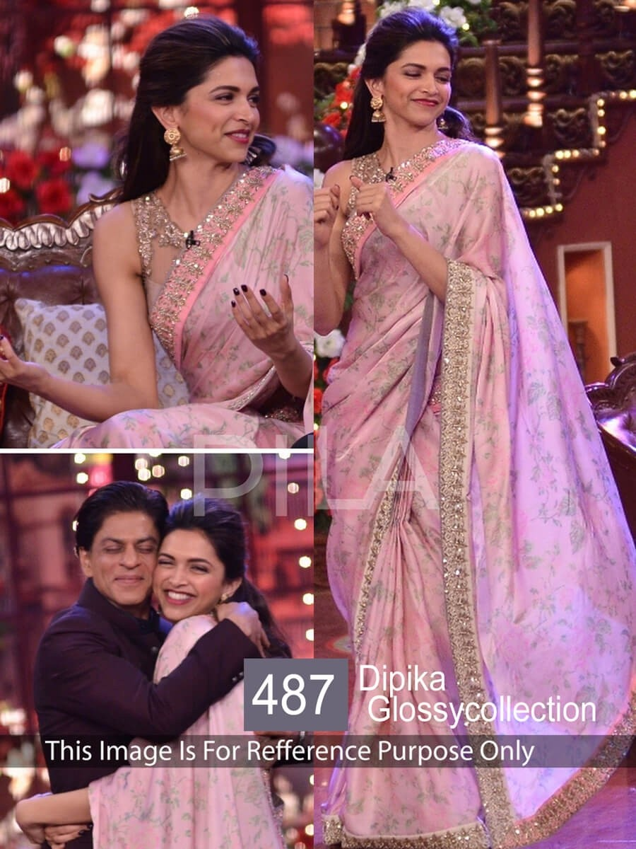Buy Dipika Padukone Peach Color Saree Online