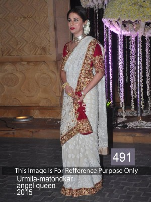 Buy Urmila Matodkar Off White Color Embroidered Saree Online