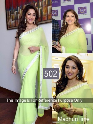 Buy Madhuri Dixit  Lemon Color Designer Saree Online