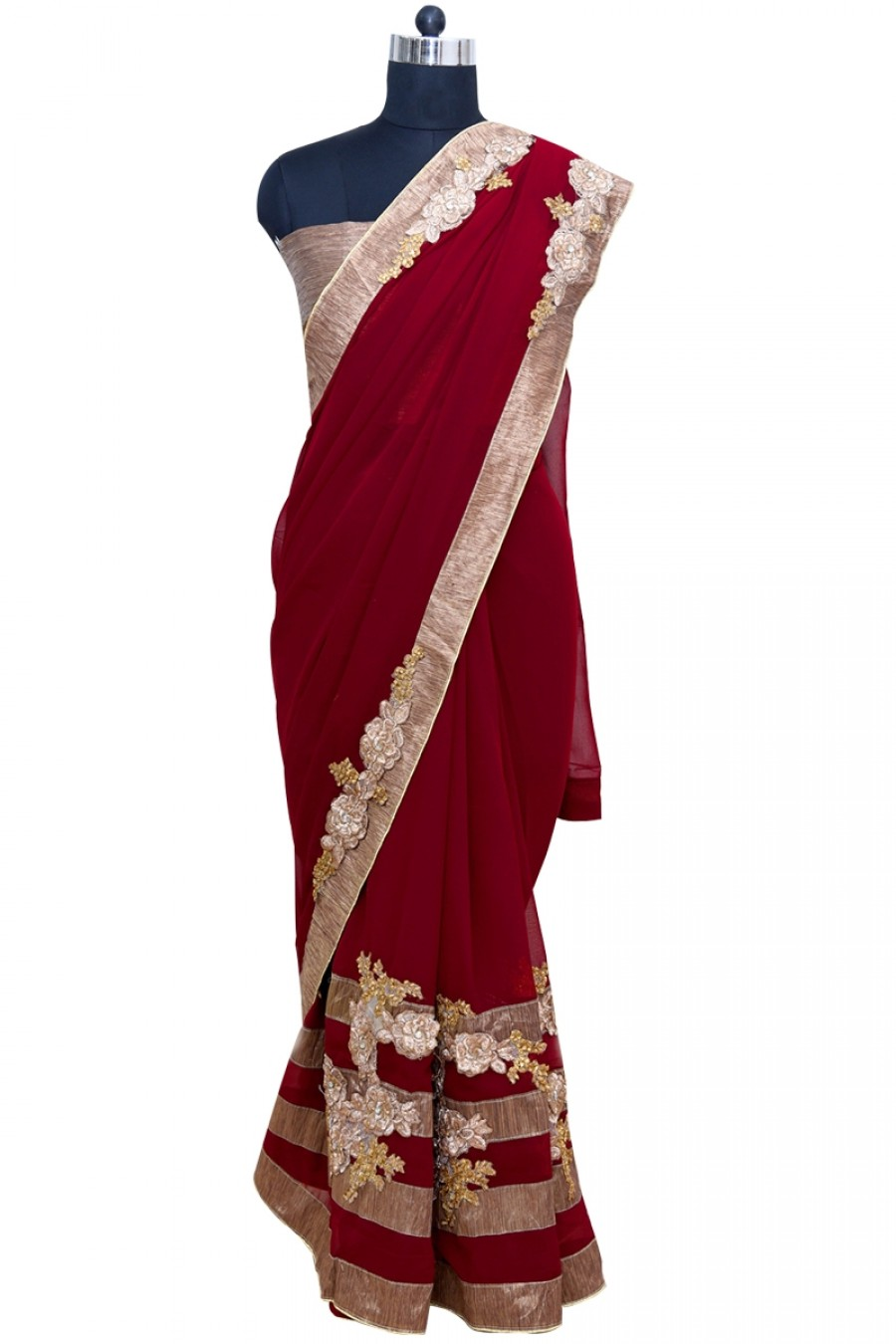 Buy Beautiful Maroon and Brown Color Saree with Border Online