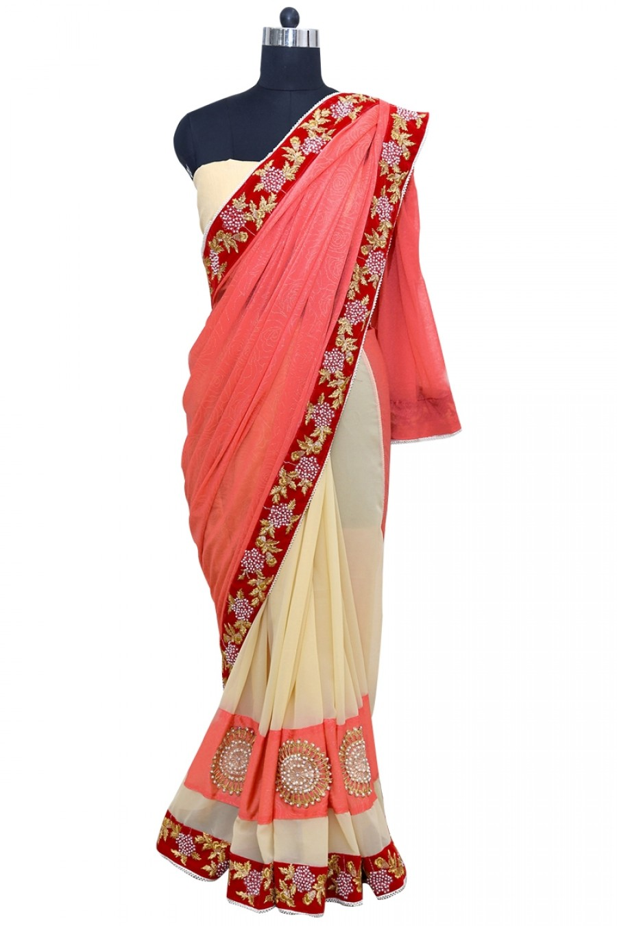 Buy Fashionable Silk Georgette Peach and Cream Color Saree Online