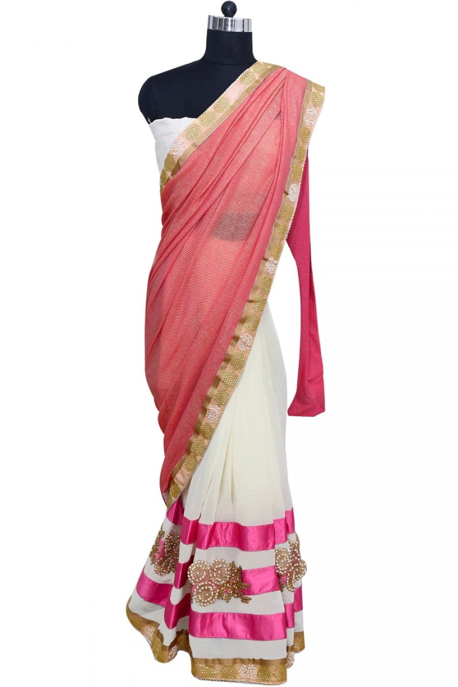 Buy Mesmarizing Pink and White Designer Saree with Border Online
