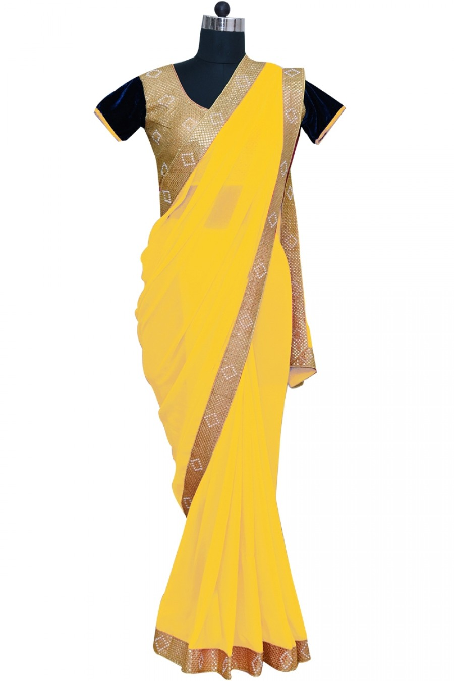 Buy Yellow Color Georgette Saree With Blouse Online