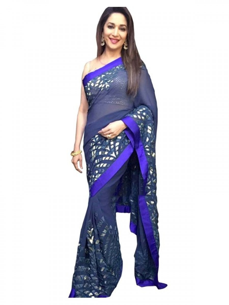 Buy  Madhuri Dixit Royal Blue Color Saree Online