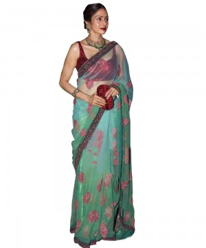 Buy Sri Devi Green and Maroon Color Saree Online