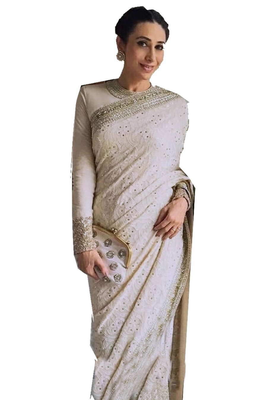 Exclusive Karishma Kapoor Beige Color Saree 507484