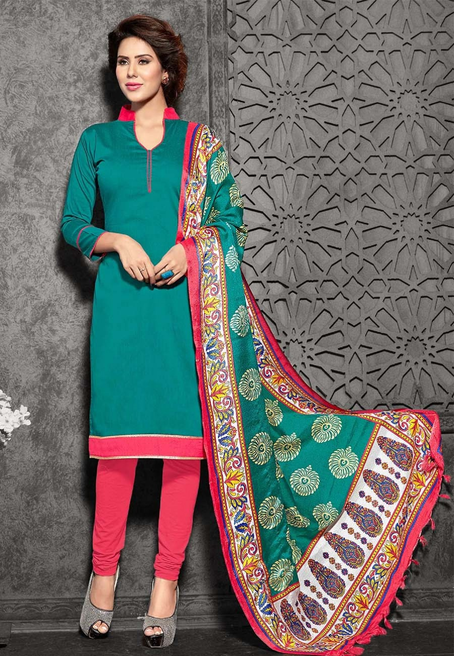 Buy Suchi Fashion Turquoise & Peach Art Silk Dress Material Online
