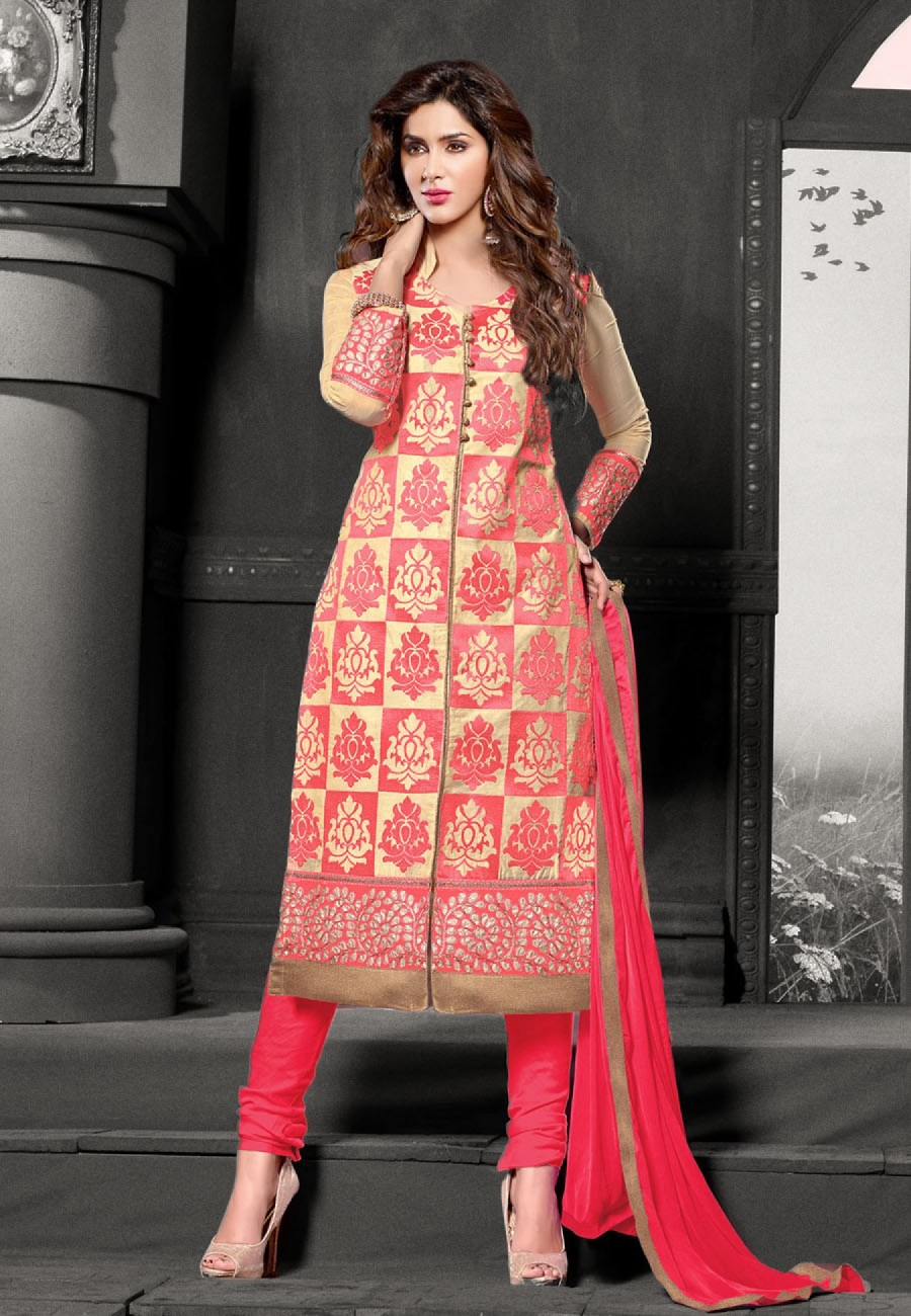 Buy Suchi Fashion Embroidered Peach & Beige Cotton Dress Material Online