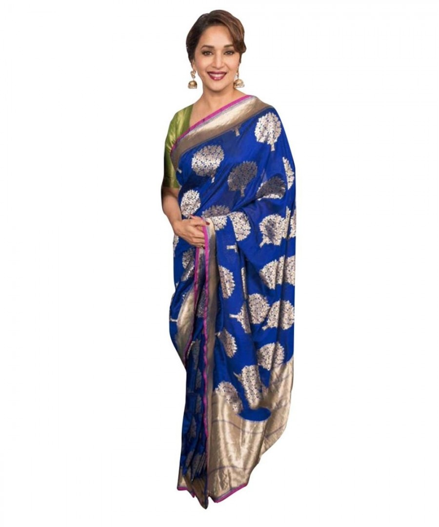 efb69bfa4bb6a Buy Madhuri Dixit Royal Blue Color Saree Online