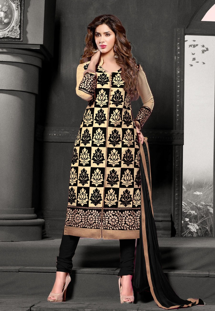 Buy Suchi Fashion Embroidered Black & Beige Cotton Dress Material Online