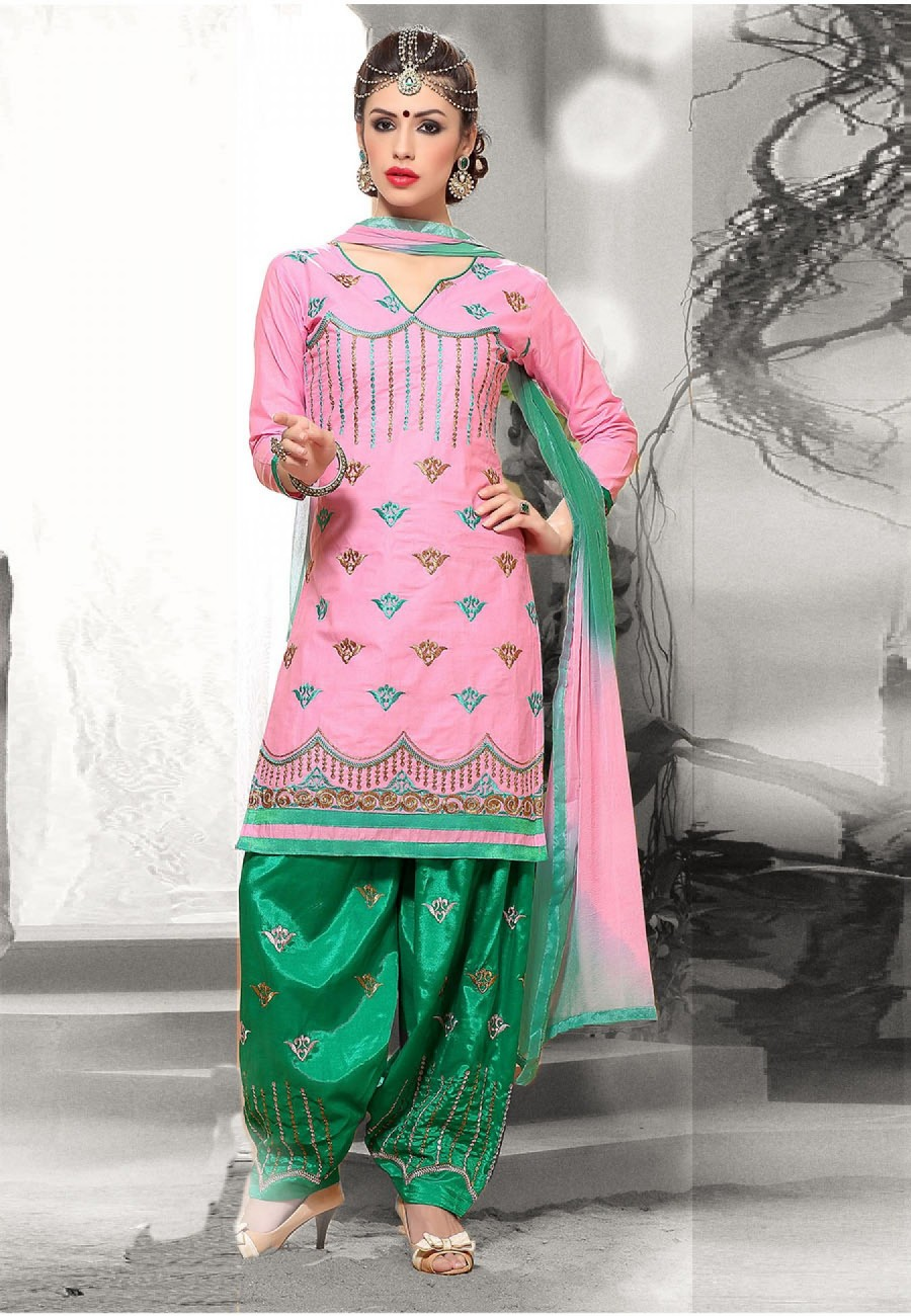 Buy Suchi Fashion Light Pink & Turquoise Cotton Heavy Embroidered Patiyala Suit Dress Material Online