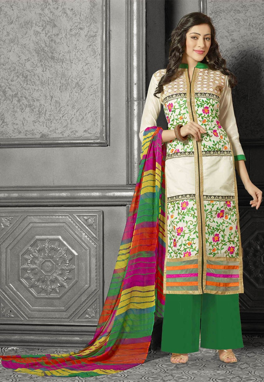 Buy Suchi Fashion Embroidered Cream & Green Chanderi Dress Material Online