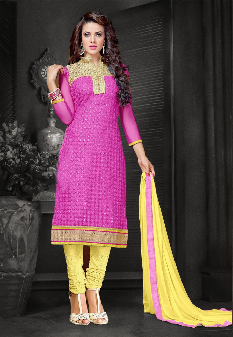 Buy Suchi Fashion Embroidered Pink & Yellow Net Shifli Dress Material Online