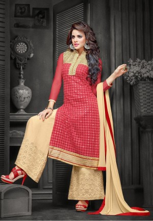 Buy Suchi Fashion Embroidered Red & Beige Net Shifli Dress Material Online