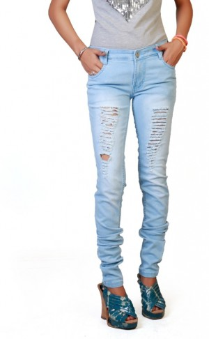 Buy F Fashionstylus Slim Fit Women Light Blue Jeans Online