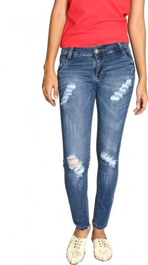 Buy Fungus Slim Fit Fit Women Dark Blue Jeans Online