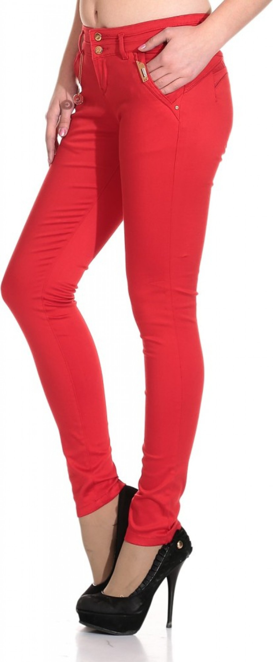 Buy See Coral Slim Fit Women Red Jeans Online
