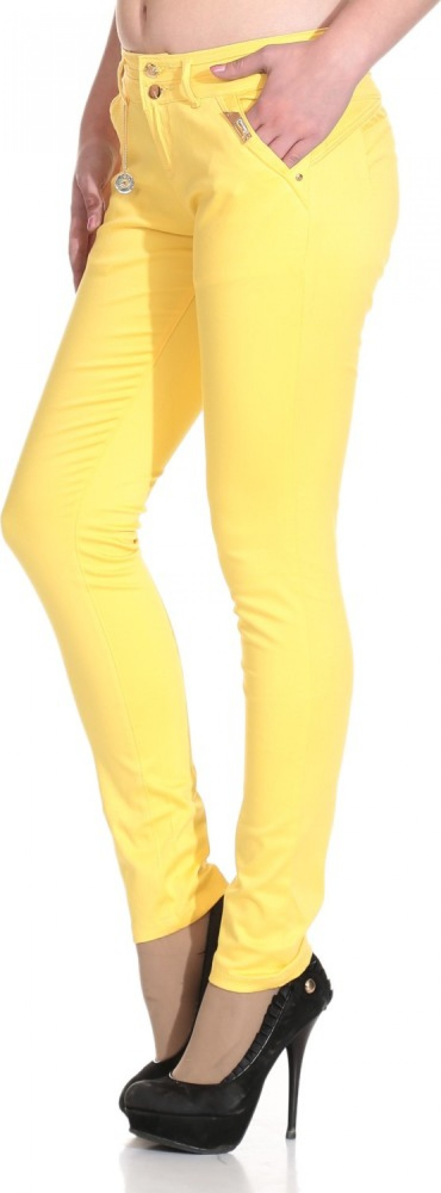 Buy See Coral Slim Fit Women Yellow Jeans Online