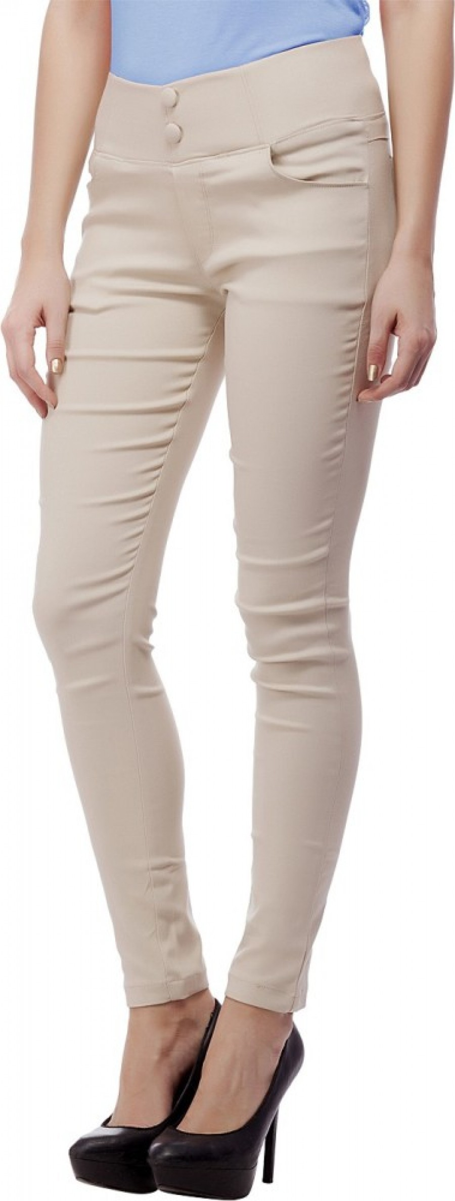 Buy Purple Feather Women Beige Jeggings Online