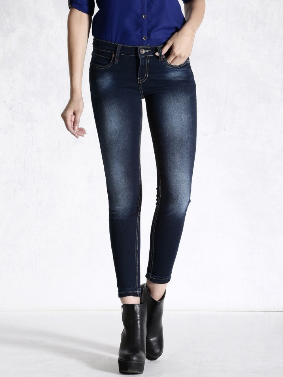 Buy Roadster Skinny Fit Women Dark Blue Jeans Online