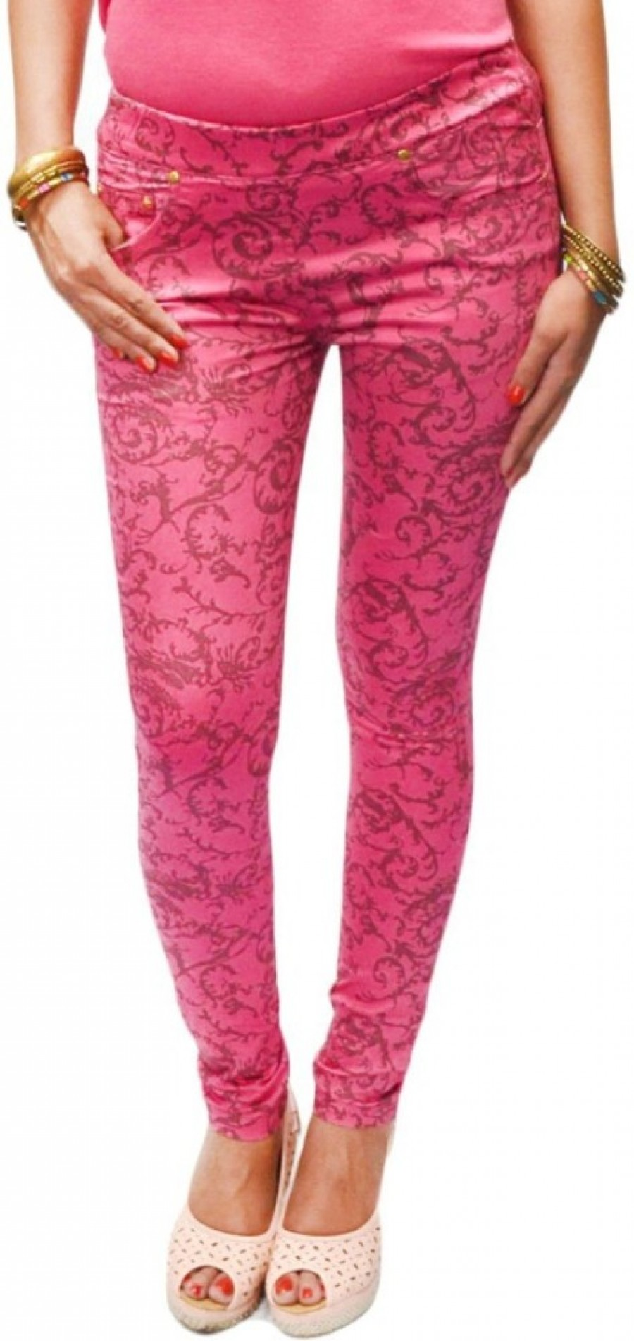 Buy S9 Women Women Pink, Brown Jeggings Online