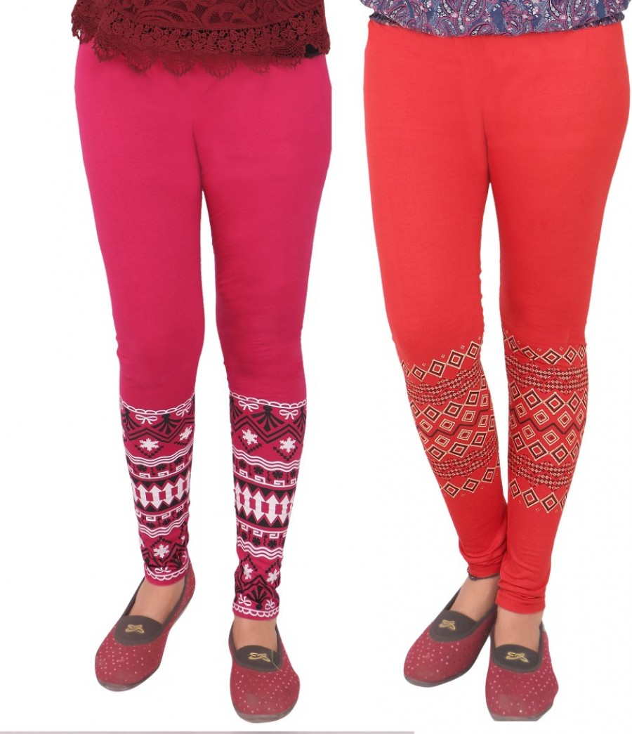 Buy T-BROS Enterprises Women Pink, Red Leggings(Pack of 2) Online