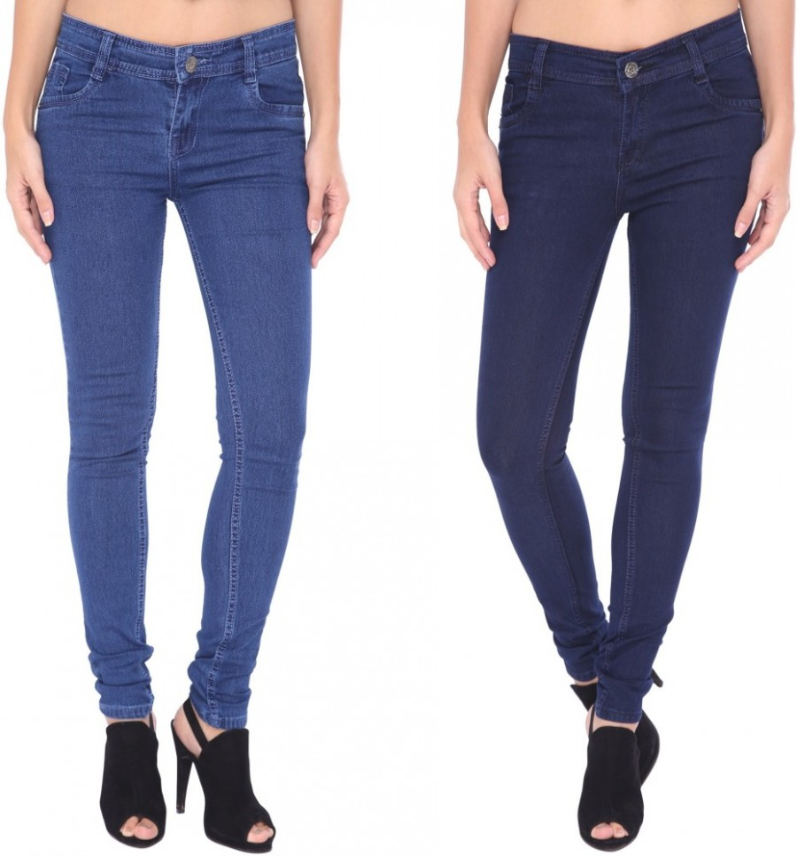 Buy Zadine Slim Fit Women Blue, Dark Blue Jeans Online