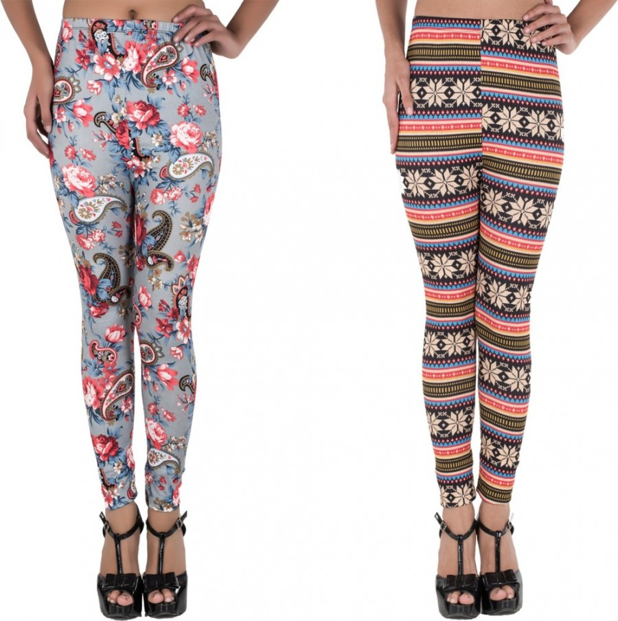 Buy Elegante Women Multicolor Jeggings(Pack of 2)  Online