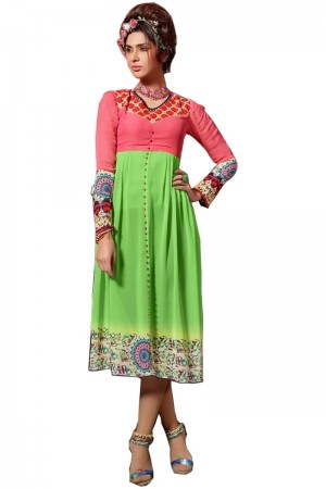 Buy Light Green and Peach Emnroidery Georgette Long Pakistani Kurti Online