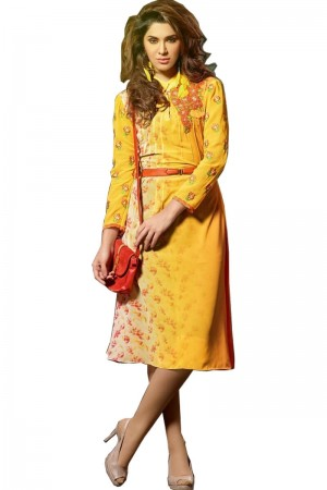 Buy Atteactive Yellow Long Pakistani KurtI Online