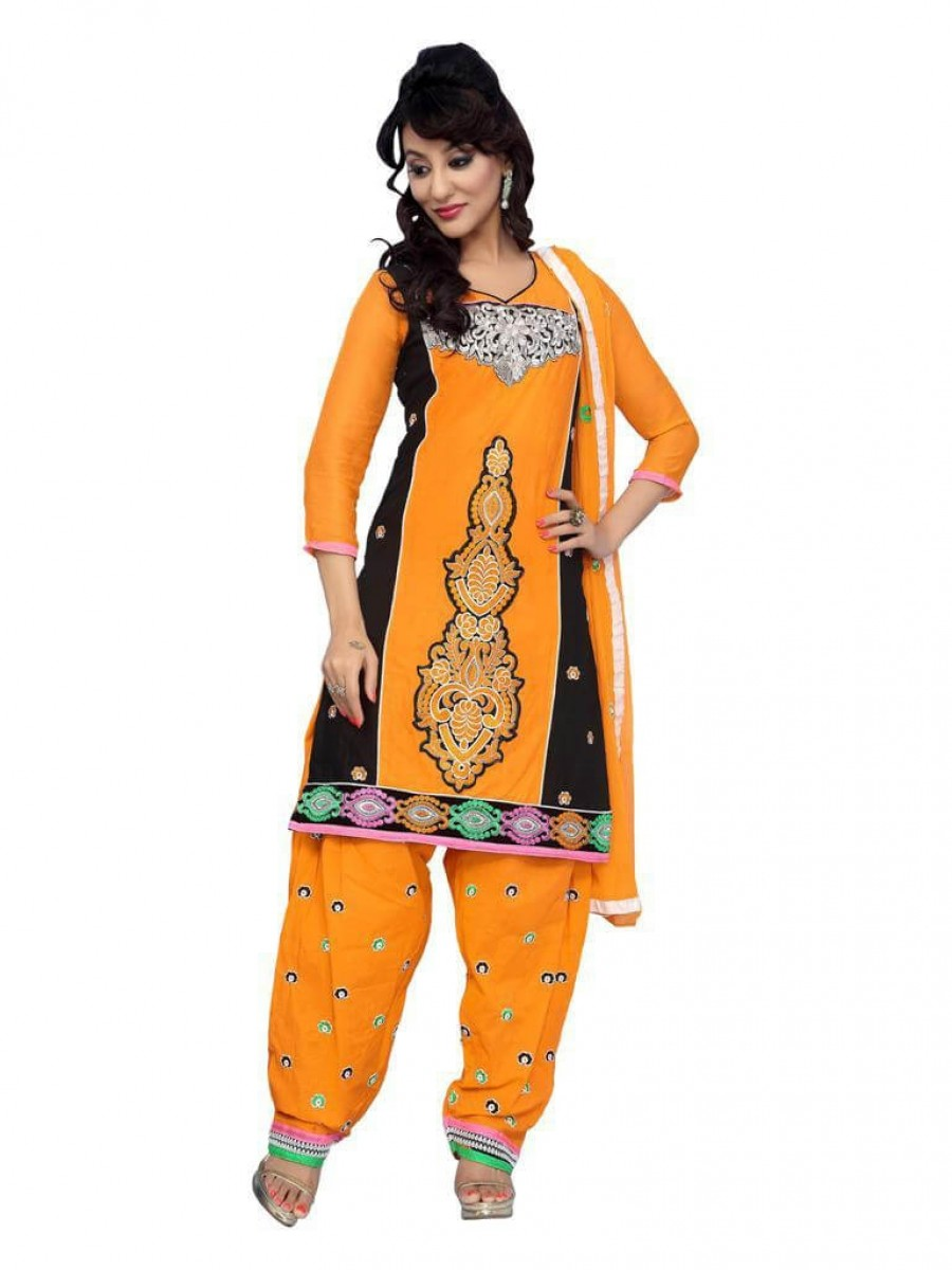 Buy Yellow color fancy Embriodered Patiala Cotton Dress Material Online