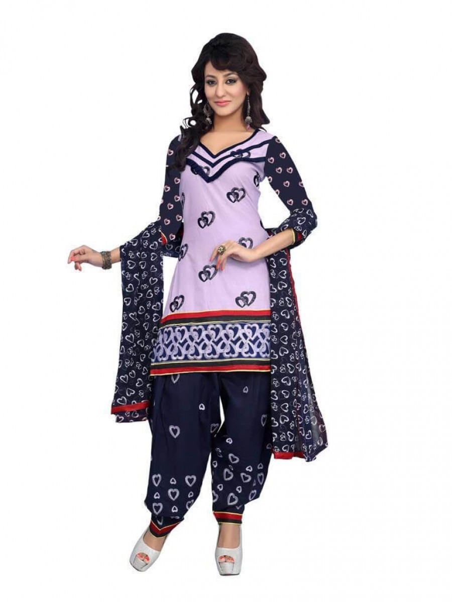 Buy Purple Color fancy Embriodered Patiala Cotton Dress Material Online
