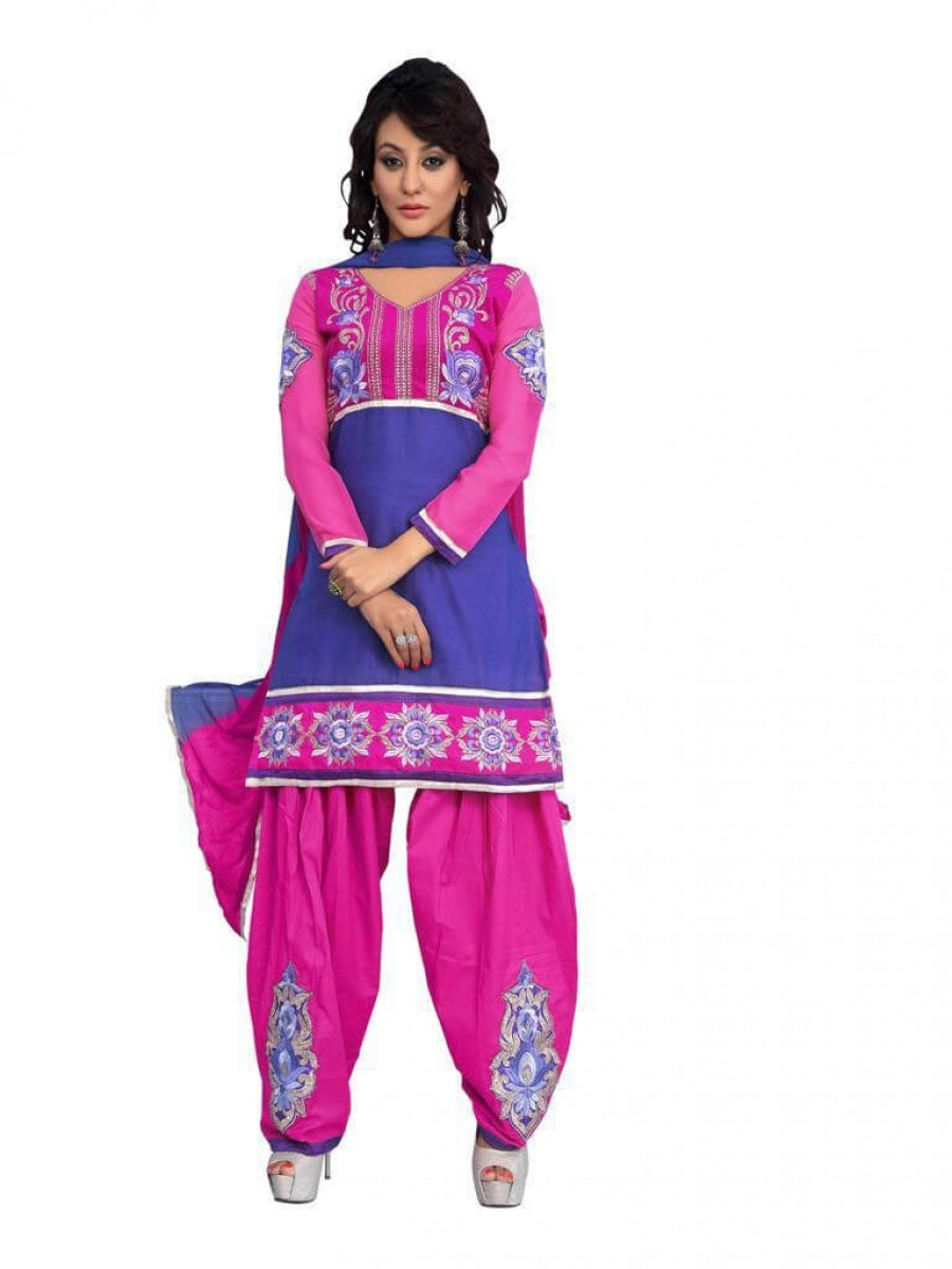 Buy Blue Color fancy Embriodered Patiala Cotton Dress Material Online