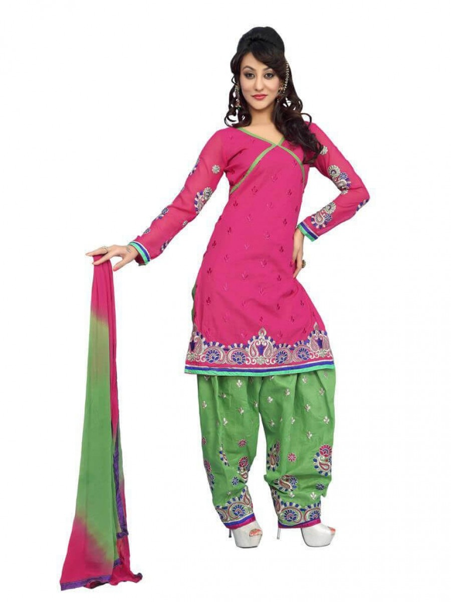Buy Pink Color fancy Embriodered Patiala Cotton Dress Material Online