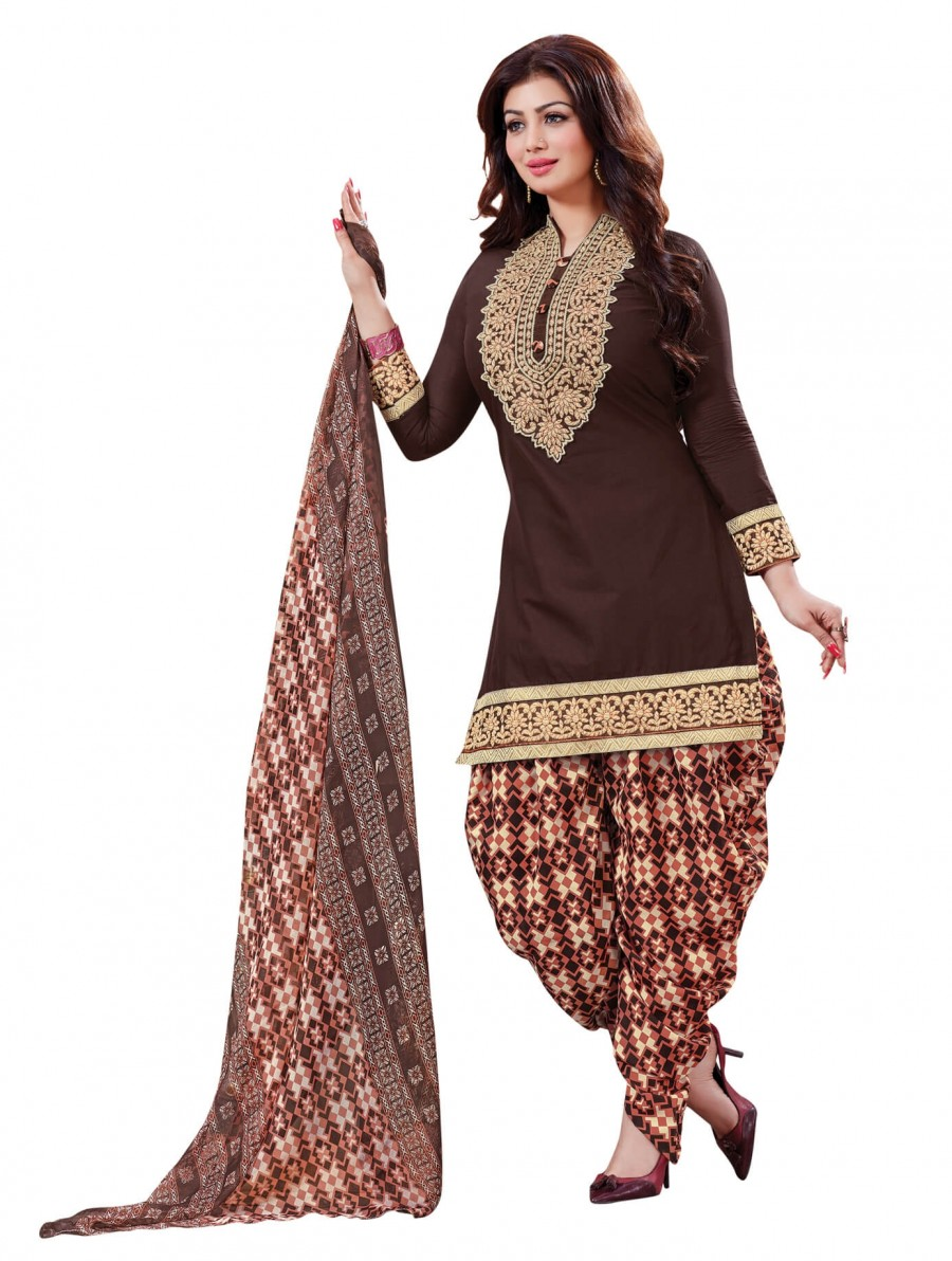 Buy Stylish fancy Coffee Designer Patiyala Suit Online