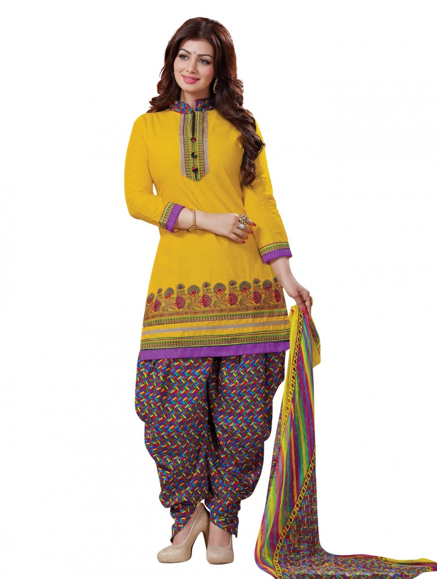Buy Stylis fancy vibrent Yellow Designer Patiyala Suit Online